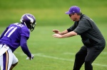 EDEN PRAIRIE, MN - JUNE 4: Head coach Mike Zimmer of the Minnesota Vikings blocks Mike Wallace #11 during a drill at practice on June 4, 2015 at Winter Park in Eden Prairie, Minnesota. (Photo by Hannah Foslien/Getty Images)