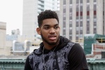 "NEW YORK, NY - JUNE 23: NBA draft prospect, Karl Anthony Towns on set with Samsung during the ""Karlito"" content shoot on June 23, 2015 in New York City. (Photo by Donald Bowers/Getty Images for Samsung)"