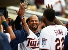 MINNEAPOLIS, MN - JULY 6: Aaron Hicks #32 of the Minnesota Twins celebrates a solo home run against the Baltimore Orioles with his teammates during the second inning of the game on July 6, 2015 at Target Field in Minneapolis, Minnesota. (Photo by Hannah Foslien/Getty Images)