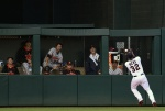 MINNEAPOLIS, MN - JULY 6: The bullpen of the Baltimore Orioles look on as Aaron Hicks #32 of the Minnesota Twins makes a catch in center field of the ball hit by Chris Parmelee #41 of the Baltimore Orioles during the fourth inning of the game on July 6, 2015 at Target Field in Minneapolis, Minnesota. The Twins defeated the Orioles 4-2 in ten innings. (Photo by Hannah Foslien/Getty Images)