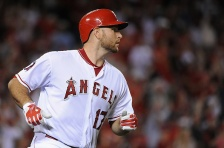 ANAHEIM, CA - JULY 21:  Chris Iannetta #17 of the Los Angeles Angels of Anaheim looks on after hitting a home run in the fifth inning during a game against the the Minnesota Twins at Angel Stadium of Anaheim on July 21, 2015 in Anaheim, California.  (Photo by Jonathan Moore/Getty Images)