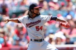 ANAHEIM, CA - JULY 23:  Ervin Santana #54 of the Minnesota Twins throws a pitch against the Los Angeles Angels of Anaheim at Angel Stadium of Anaheim on July 23, 2015 in Anaheim, California.  (Photo by Stephen Dunn/Getty Images)