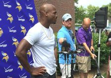 Adrian Peterson at first day of Vikings training camp in Mankato July 25, 2015.