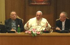 Pope Francis at a conference on climate change and human trafficking at the Vatican on July 21, 2015.