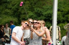 Selfie stick in use
