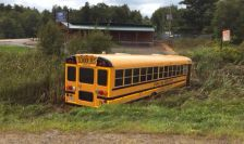 School bus involved in a fatal accident near Cumberland, Wisconsin on Aug. 22, 2015.