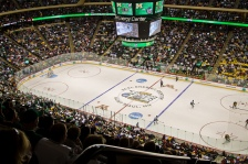 A packed Xcel Energy Center during the NCAA Frozen Four UND vs. Michigan game.