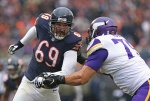 CHICAGO, IL - NOVEMBER 16:  Jared Allen #69 of the Chicago Bears rushes against Michael Harris #79 of the Minnesota Vikings at Soldier Field on October 19, 2014 in Chicago, Illinois. The Bears defeated the Vikings 21-13.  (Photo by Jonathan Daniel/Getty Images)