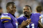 MINNEAPOLIS, MN - AUGUST 15: Teddy Bridgewater #5 and Mike Wallace #11 of the Minnesota Vikings speak during the preseason game against the Tampa Bay Buccaneers on August 15, 2015 at TCF Bank Stadium in Minneapolis, Minnesota. The Vikings defeated the Buccaneers 26-16. (Photo by Hannah Foslien/Getty Images)