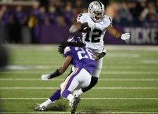 MINNEAPOLIS, MN - AUGUST 22: Trae Waynes #26 of the Minnesota Vikings tackles Brice Butler #12 of the Oakland Raiders during the third quarter of the preseason game on August 22, 2015 at TCF Bank Stadium in Minneapolis, Minnesota. The Vikings defeated the Raiders 20-12. (Photo by Hannah Foslien/Getty Images)