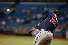 ST. PETERSBURG, FL - AUGUST 25:  Miguel Sano #22 of the Minnesota Twins hits a three-run home run off of pitcher Nathan Karns of the Tampa Bay Rays during the first inning of a game on August 25, 2015 at Tropicana Field in St. Petersburg, Florida.  (Photo by Brian Blanco/Getty Images)