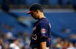 ST. PETERSBURG, FL - AUGUST 27:  Pitcher Tommy Milone #33 of the Minnesota Twins walks toward the dugout after being taken off the mound by manager Paul Molitor #4 during the sixth inning of a game against the Tampa Bay Rays on August 27, 2015 at Tropicana Field in St. Petersburg, Florida.  (Photo by Brian Blanco/Getty Images)