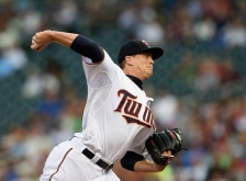 MINNEAPOLIS, MN - AUGUST 28: Kyle Gibson #44 of the Minnesota Twins delivers a pitch against the Houston Astros during the first inning of the game on August 28, 2015 at Target Field in Minneapolis, Minnesota. (Photo by Hannah Foslien/Getty Images)