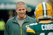 GREEN BAY, WI - AUGUST 29: Jordy Nelson #87 of the Green Bay Packers (L) talks with Randall Cobb #18 during warmups before the game against the Philadelphia Eagles at Lambeau Field on August 29, 2015 in Green Bay, Wisconsin.  (Photo by Jon Durr/Getty Images)