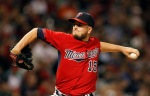 Minnesota Twins' Glen Perkins pitches in the ninth inning of a baseball game against the Cleveland Indians Friday, Aug. 7, 2015, in Cleveland. (AP Photo/Aaron Josefczyk