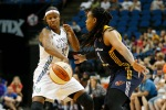 Minnesota Lynx forward Rebekkah Brunson (32) tries to pass the ball around Indiana Fever forward Erlanka Larkins during the first half of a WNBA basketball game, Friday, Sept. 4, 2015, in Minneapolis. (AP Photo/Stacy Bengs)