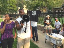Black Lives Matter protest at the governor's residence, Sept. 1, 2015