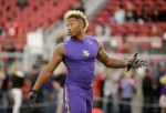 Minnesota Vikings wide receiver Charles Johnson warms up before an NFL football game against the San Francisco 49ers in Santa Clara, Calif., Monday, Sept. 14, 2015. (AP Photo/Eric Risberg)