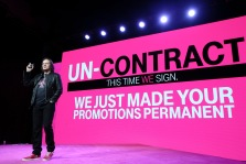"IMAGE DISTRIBUTED FOR T-MOBILE - T-Mobile CEO John Legere introduces ""Un-contract"" at the Un-carrier 9.0 event, Wednesday, March 18, 2015, in New York. Un-contract flips the idea of the carrier contract on its head by guaranteeing T-Mobile customers that while their price may go down, it will not go up. (John Minchillo/AP Images for T-Mobile)"