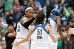 Minnesota Lynx forward Maya Moore (23) talks with Minnesota Lynx guard Anna Cruz (51) against the Indiana Fever in the second half of Game 2 of the WNBA basketball finals, Tuesday, Oct. 6, 2015, in Minneapolis. (AP Photo/Jim Mone)
