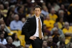 FILE - In this Sunday, March 8, 2015, file photo, Minnesota head coach Richard Pitino watches his team play against Penn State during the first half of an NCAA college basketball game in Minneapolis. On Tuesday, Aug. 25, 2015, Minnesota finalized a two-year contract extension for Pitino through the 2020-21 season, including a $400,000 raise. (AP Photo/Hannah Foslien, File)