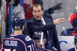 Columbus Blue Jackets head coach Todd Richards talks with Nick Foligno (71) during the third period of an NHL hockey game against the Pittsburgh Penguins in Columbus, Ohio Saturday, Dec. 13, 2014.(AP Photo/Gene J. Puskar)