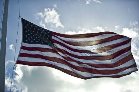 The U.S. flag at half staff.