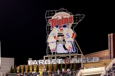 The Target Field logo during a game against the Kansas City Royals during a baseball game, Friday, April 11, 2014, in Minneapolis. (AP Photo/Paul Battaglia)