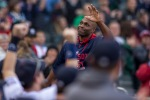 Minnesota Twins right fielder Torii Hunter acknowledges the crowd after a video was played in his honor during the baseball game with the Kansas City Royals Sunday, Oct. 4, 2015, in Minneapolis. The Royals won 6-1. (AP Photo/Bruce Kluckhohn)
