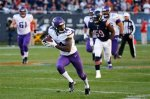 Minnesota Vikings wide receiver Stefon Diggs (14) runs to the end zone for a touchdown during the second half of an NFL football game against the Chicago Bears, Sunday, Nov. 1, 2015, in Chicago. (AP Photo/Charles Rex Arbogast)