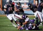 Minnesota Vikings linebacker Eric Kendricks (54) tackles Chicago Bears receiver Eddie Royal (19) during the first half of an NFL football game, Sunday, Nov. 1, 2015, in Chicago. (AP Photo/Charles Rex Arbogast)