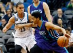 Charlotte Hornets' Jeremy Lamb, right, drives around Minnesota Timberwolves' Kevin Martin during the first quarter of an NBA basketball game, Tuesday, Nov. 10, 2015, in Minneapolis. (AP Photo/Jim Mone)