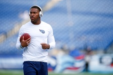 Tennessee Titans running back David Cobb warms up before a preseason NFL football game against the St. Louis Rams Sunday, Aug. 23, 2015, in Nashville, Tenn. (AP Photo/Weston Kenney)