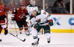 Minnesota Wild's Justin Fontaine skates to the puck during the first period of an NHL hockey game against the Arizona Coyotes Thursday, Oct. 15, 2015, in Glendale, Ariz.  The Wild defeated the Coyotes 4-3. (AP Photo/Ross D. Franklin)