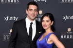 Aaron Rodgers, of the Green Bay Packers, left, and Olivia Munn arrive at the 4th annual NFL Honors at the Phoenix Convention Center Symphony Hall on Saturday, Jan. 1, 2015. (Photo by Jordan Strauss/Invision for NFL/AP Images)