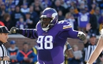 Minnesota Vikings defensive tackle Linval Joseph (98) reacts after a play during the first half of an NFL football game against the St. Louis Rams, Sunday, Nov. 8, 2015, in Minneapolis. (AP Photo/Ann Heisenfelt)