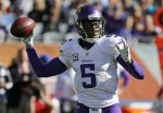 Minnesota Vikings quarterback Teddy Bridgewater (5) throws a pass during the first half of an NFL football game against the Chicago Bears, Sunday, Nov. 1, 2015, in Chicago. (AP Photo/Nam Y. Huh)