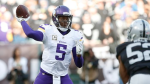 Minnesota Vikings quarterback Teddy Bridgewater (5) against the Oakland Raiders during the second half of an NFL football game in Oakland, Calif., Sunday, Nov. 15, 2015. (AP Photo/Beck Diefenbach)