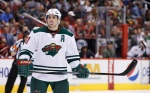 Minnesota Wild's Zach Parise pauses while on the ice during the first period of an NHL hockey game against the Arizona Coyotes Friday, Dec. 11, 2015 in Glendale, Ariz.  The Coyotes defeated the Wild in overtime 2-1. (AP Photo/Ross D. Franklin)