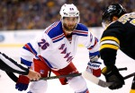 New York Rangers' Jarret Stoll during the third period of the Boston Bruins 4-3  shootout win over the New York Rangers in an NHL preseason hockey game in Boston Thursday, Sept. 24, 2015. (AP Photo/Winslow Townson)