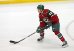 Minnesota Wild's Jared Spurgeon plays in the first period of an NHL hockey game against the Florida Panthers, Thursday, Feb. 12, 2015, in St. Paul, Minn. (AP Photo/Jim Mone)