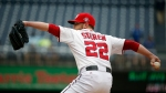 Washington Nationals relief pitcher Drew Storen (22) throws during the ninth inning of the first baseball game of a doubleheader against the Toronto Blue Jays at Nationals Park, Tuesday, June 2, 2015, in Washington. The Nationals won the first game 2-0. (AP Photo/Alex Brandon)