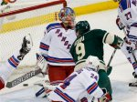 Minnesota Wild center Mikko Koivu (9), of Finland, scores on New York Rangers goalie Antti Raanta (32), of Finland, during the first period of an NHL hockey game in St. Paul, Minn., Thursday, Dec. 17, 2015. (AP Photo/Ann Heisenfelt)
