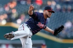 Minnesota Twins pitcher Ricky Nolasco watches a delivery to the Detroit Tigers during the first inning of a baseball game in Detroit on Wednesday, May 13, 2015. (AP Photo/Paul Sancya)