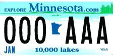 Minnesota license plate - sample