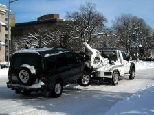 tow truck in snow