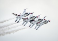 The Thunderbirds Diamond formation performs the echelon pass in review maneuver during the Joint Base San Antonio Air Show, Oct. 31, 2015, at JBSA, TX. (U.S. Air Force photo by Senior Airman Rachel Maxwell)