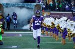 Minnesota Vikings linebacker Chad Greenway (52) is introduced before an NFL wild-card football game against the Seattle Seahawks, Sunday, Jan. 10, 2016, in Minneapolis. (AP Photo/Jim Mone)