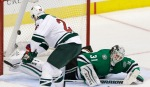 Minnesota Wild left wing Thomas Vanek (26) scores a goal against Dallas Stars goalie Antti Niemi (31) during the second period of an NHL hockey game Saturday, Jan. 9, 2016, in Dallas. (AP Photo/LM Otero)