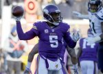 Minnesota Vikings quarterback Teddy Bridgewater (5) throws during the first half of an NFL wild-card football game against the Seattle Seahawks, Sunday, Jan. 10, 2016, in Minneapolis. (AP Photo/Nam Y. Huh)